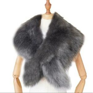 Light gray fur shawl for bridal party- never worn